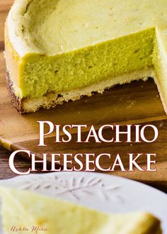 Everyone loves pistachio desserts, like this pistachio cheesecake with a coconut macaroon crust! Free recipe for cheesecake and pistachio paste. Pistachio Cheesecake, Pistachio Dessert, Pistachio Recipes, Chocolate Cheesecake, No Bake Desserts, Just Desserts, Delicious Desserts, Yummy Food, Sweet Recipes