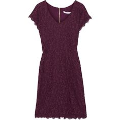 Diane von Furstenberg Wanda lace and jersey mini dress ($164) ❤ liked on Polyvore featuring dresses, plum, plum dress, plum lace dress, lace dress, short purple dresses and purple mini dress