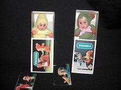 "2 Vintage PIERINO Tiny Miniature Matchbox Baby Dolls ~ 2.5"" 1970s ~ CUTE! (11/13/2013)"
