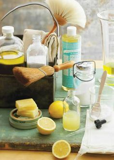 6 ingredients, 8 homemade cleaners for your entire house: glass cleaner, stove cleaner, disinfecting spray, floor cleaner, heavy duty cleaner, dishwasher detergent, laundry detergent, spray stain fighter.