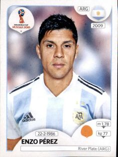 Enzo Perez of Argentina. 2018 World Cup Finals card. World Cup Russia 2018, World Cup 2018, Fifa World Cup, Argentina World Cup, Argentina Soccer, Premier League, Uefa Football, Soccer Cards, Iker Casillas