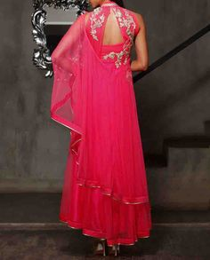 Neon Pink Anarkali Suit with Floral Applique Is Now At http://www.ladyselection.com
