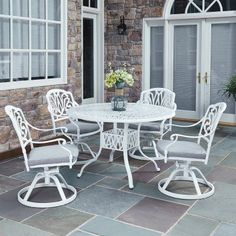 Outdoor Home Styles Floral Blossom White Cast Aluminum 48 in. 5 Piece Round Patio Dining Set with Optional Umbrella - 5562-325, Durable
