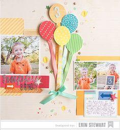 Happy Birthday designed by Erin Stewart #Scrapbooking #Page Layout