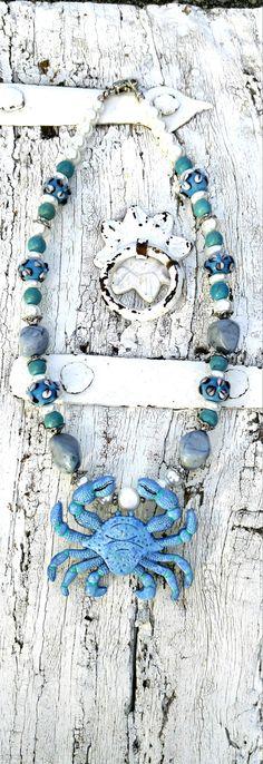 Blue Patina Crab Necklace BeAch NeCkLAce by SecretStashBoutique