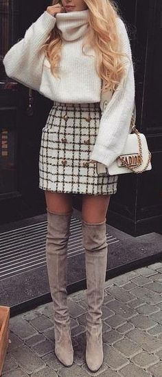Winter Fashion Outfits, Fall Winter Outfits, Look Fashion, Spring Outfits, Womens Fashion, Winter Clothes, Fall Fashion, Winter Outfits With Skirts, Latest Fashion