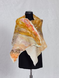 Cozy blanket wrap / Merino wool shawl / Wet felted by FeltWorld51