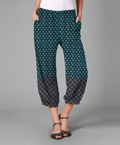 Simply Aster Turquoise & Gray Arabesque Harem Pants by Simply Aster #zulily #zulilyfinds