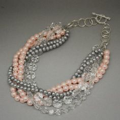 Pink, Gray and Clear Crystals Multistrand Necklace - I just may have to buy this one for myself! :0)