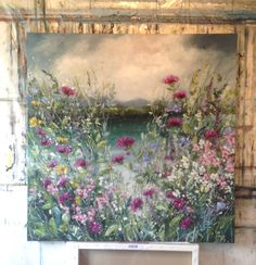 'Kanp on Lac du Passy' by Marie Mills: work in progress in her French studio for FLORAL opening at gallerytop on 28 June 2014