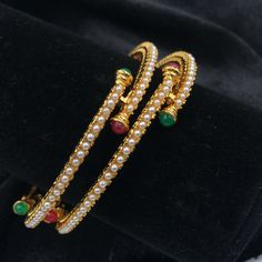 Thin Moti bangles with red/green stones - 1 - Chan