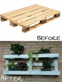 Come trasformare un semplice bancale da lavoro, in un porta piante da esterno.