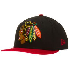 Chicago Blackhawks Youth Black and Red Over-Sized Primary Logo Snapback Hat by New Era #Chicago #Blackhawks #ChicagoBlackhawks