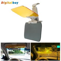 New Car Sun Visor HD Car Anti-Glare Dazzling Goggle Day Night Vision Driving Mirror UV Fold Flip Down