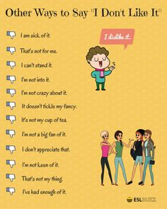 Other ways to say 'I don't like it'. Other ways to say 'I don't like it'. Speak English Fluently, English Sentences, English Vocabulary Words, Learn English Grammar, Learn English Words, English Phrases, English Study, English English, English Learning Spoken