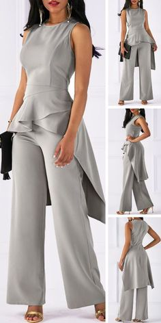 Round Neck Asymmetric Hem Top and Grey Pants - Rosewe - DamenbekleidungRound Neck Asymmetric Hem Top and Grey Pants Upgrade your wardrobe and try a new style in this years Fashion Pants, Look Fashion, Fashion Outfits, Womens Fashion, African Fashion Dresses, Grey Pants, Work Attire, Party Fashion, Jumpsuits For Women