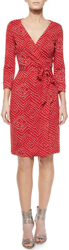 $238, Red Polka Dot Casual Dress: Diane von Furstenberg Ditzy Silk Polka Dot Wrap Dress Batik Red. Sold by Neiman Marcus. Click for more info: https://lookastic.com/women/shop_items/315151/redirect