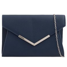 Dark blue faux leather clutch bag / shoulder bag with Silver tone metal edge trim to the front The bag fastens with a flap over the top and a Navy Clutch Bags, Leather Clutch Bags, Clutch Purse, Leather Handbags, Summer Handbags, Straw Handbags, Prom Accessories, Popular Handbags, Free Uk