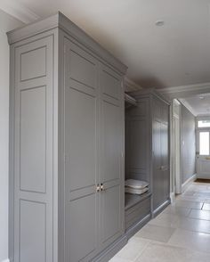 Perfect hallway storage in this lovely Victorian home in Chelmsford. The Spenlow cabinetry is the same as the main kitchen - direct link in… Hallway Cupboards, Hallway Storage, Hallway Closet, Kitchen Cabinets, Wardrobe Doors, Built In Wardrobe, Boot Room Utility, Limestone Flooring, Travertine