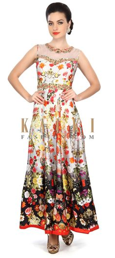 Buy Online from the link below. We ship worldwide (Free Shipping over US$100) Price- $219 Click Anywhere to Tag http://www.kalkifashion.com/grey-anarkali-suit-featuring-in-floral-print-with-embroidered-neckline-only-on-kalki.html