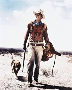 This weekend I watched Rio Bravo, starring John Wayne. The first memory I had of Wayne was at the movie ride in MGM Studios. The ride's boat rounds a corner, and a mechanized John Wayne is si… John Wayne Quotes, John Wayne Movies, Classic Hollywood, Old Hollywood, Into The West, Cowboy Up, Cowboy Gear, Actor John, Western Movies