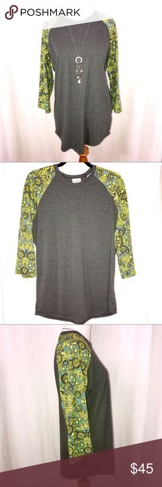 New LuLaRoe Randy Baseball t Shirt XS army green grey gray solid heathered
