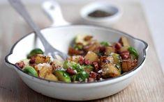 Aardappelpannetje met spek en spruitjes