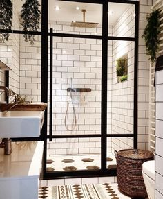 Bathroom Inspiration - we bring you bright ideas for how to design your living room, bedroom, bathroom and every other room in your house. Bad Inspiration, Bathroom Inspiration, Bathroom Ideas, Small Bathroom, Bathroom Goals, White Bathroom, Plants In Bathroom, Plants In Kitchen, Garden Bathroom