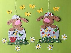 2 x Fensterbild aus Tonkarton , Hase Osterhase Blumen Frühling Ostern Ei Osterei