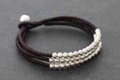 Brown Silver 3 Strand Bracelet by XtraVirgin on Etsy, $8.00