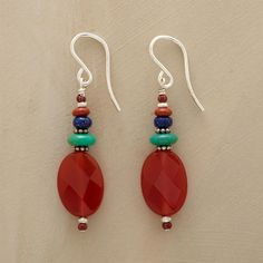 "BAJA SUNSET EARRINGS -- A glowing carnelian sun sets over turquoise waters accented with jasper and lapis. Sterling silver. Made in USA. Exclusive. 1-5/8""L."
