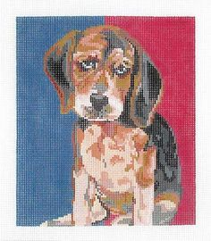 Small Beagle by Ruth Schmuff Designs -    1143 - 18ct    Now available the very cute Beagle Pup in a new smaller size. 5.5 x 6.5 on 18ct.