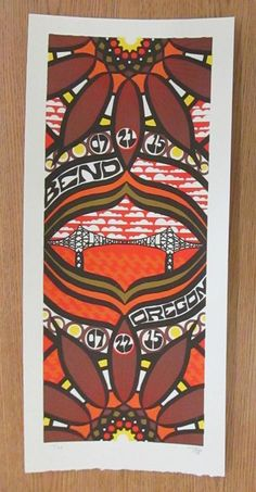 Original silkscreen concert poster for Phish Bend, Oregon in 2015. 10 x 22 inches. It is printed on Watercolor Paper with Acrylic Inks. The poster is signed and numbered out of 90 by the artist Tripp.
