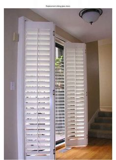 plantation shutters for window. Accordion Plantation Shutters, Fold em' as you . Home Diy, Doors, Door Treatments, Windows And Doors, Door Window Covering, House, Sliding Glass Door Window, Door Coverings, Home Decor