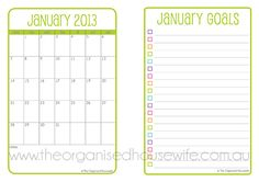 {Printable} The 2013 Planner... Like the monthly to do list