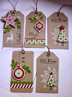 stampin with fanny: Project # Gift tags with DP style mix and DP ice … - Diy Christmas Gifts Christmas Paper Crafts, Stampin Up Christmas, Christmas Gift Wrapping, Handmade Christmas, Diy Christmas Tags, Christmas Projects, Stampin Up Weihnachten, Handmade Gift Tags, Card Tags