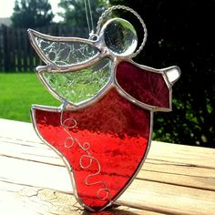 *RED STAINED GLASS ANGEL - good for Christmas