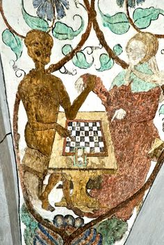 "THIS IS SWISS -- SORRY COULDN'T RESIST IT -- IT'S THE COMPARATIVIST IN ME COMING OUT! Death points to the hour-glass -- a chess-clock with a vengeance! wall-painting c.1518 in the St. Margarethenkirche, Ilanz in Graubunden (Switzerland).. Great image c/o www.kirchen-online.org [But another dodgy chess-board -- 8 x 6 squares!] REPINNED FROM MY ""ENDGAME: PLAYING CHESS WITH DEATH"" BOARD"