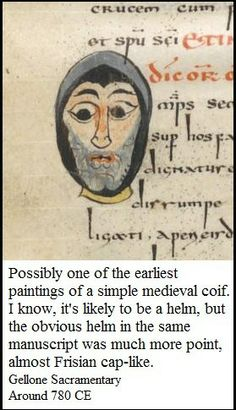 A medieval illustration from the heart of the early middle ages, showing a bearded man wearing a hood or possibly a helmet.  It could also be a coif, but the sides don't look quite for that to me.