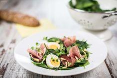 Spinatsalat, Rezept Oster, Brunch, Frühlingsbrunch, gesundes Rezept, Osterrezept, Osterbrunch. gesundes Rezept. Frühlingsrezept. Salat mit Schinken, Ei.