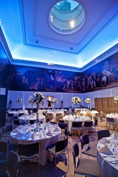 The Great Room set for a wedding Breakfast RSA House  London Wedding