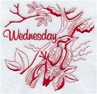Machine Embroidery Designs at Embroidery Library! - A Days of the Week Backyard Birds (Redwork) Design Pack - Lg