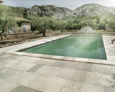 French Limestone pool side stone by Francois & Co.