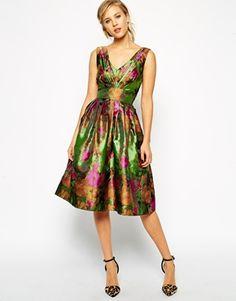 ASOS Floral Jacquard Prom Dress - Print