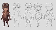 chibi 3d character orthographic pose sheet - Google Search