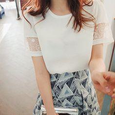 Gmarket - [CHERRYKOKO] Lace trim blouse / loose fit / round neck...