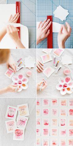 DIY watercolor wedding escort cards