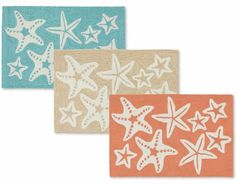 Starfish Mats in Aqua, Coral and Beige... http://www.beachblissdesigns.com/2017/01/indoor-outdoor-starfish-mats-in-aqua.html Beachiness for the door, kitchen, bathroom...