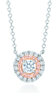Tiffany OFF! Embraced by Tiffany diamonds. Tiffany Soleste® pendant in platinum and rose gold with white and Fancy Pink diamonds. Tiffany Necklace, Tiffany Jewelry, Tiffany And Co, Tiffany Blue, All That Glitters, Diamond Are A Girls Best Friend, Jewelery, Fashion Jewelry, Jewelry Making