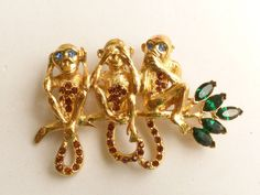 Trifari TM 1996 Hear No Evil See No Evil Speak No Evil Monkey Figural Brooch #Trifari